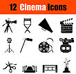 Set Of Twelve Cinema Black Icons. Vector Illustration