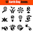 Set Of Twelve Earth Day Black Icons. Vector Illustration