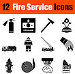 Set Of Twelve Fire Service Black Icons. Vector Illustration