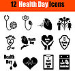 Set Of Twelve Health Day Black Icons. Vector Illustration stock vector