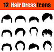 Set Of Twelve Man's Hairstyles Black Icons. Vector Illustration