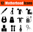 Set Of Twelve Motherhood Black Icons. Vector Illustration