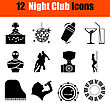 Set Of Twelve Night Club Black Icons. Vector Illustration