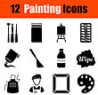 Set Of Twelve Painting Black Icons. Vector Illustration