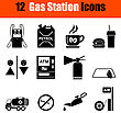 Set Of Twelve Petrol Station Black Icons. Vector Illustration