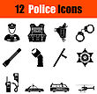 Set Of Twelve Police Black Icons. Vector Illustration
