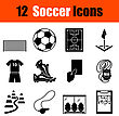 Set Of Twelve Soccer Black Icons. Vector Illustration