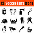 Set Of Twelve Soccer Fans Black Icons. Vector Illustration