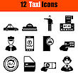 Set Of Twelve Taxi Black Icons. Vector Illustration