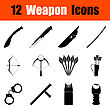 Set Of Twelve Weapon Black Icons. Vector Illustration stock illustration
