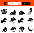 Set Of Twelve Weather Black Icons. Vector Illustration
