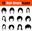Set Of Twelve Woman's Hairstyles Black Icons. Vector Illustration