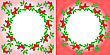 Set Of Two Mountain Ash Wreaths On Different Backgrounds