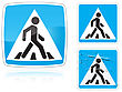 Set Of Variants A Crosswalk Road Sign Group Of As Fish-eye Simple And Grunge Icons For Your Design