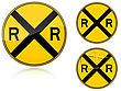 Set Of Variants A Level Crossing Warning - Road Sign Group Of As Fish-eye Simple And Grunge Icons For Your Design