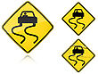 Set Of Variants A Slippery When Wet - Road Sign Group Of As Fish-eye Simple And Grunge Icons For Your Design