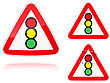 Set Of Variants A Traffic Light Control Road Sign Group Of As Fish-eye Simple And Grunge Icons For Your Design