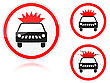Set Of Variants A Transportation Of Explosives And Flammable Substances Is Forbidden - Road Sign Group Of As Fish-eye Simple And Grunge Icons For Your Design Vector Ill
