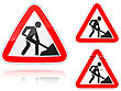 Set Of Variants A Works On The Road - Road Sign Group Of As Fish-eye Simple And Grunge Icons For Your Design
