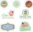 Set Of Vintage Style Logo With Cupcake And Candies. Good Idea For Label, Banner, Logo Or Other Design stock vector