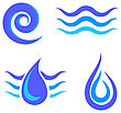 Set Of Water Icons Isolated On White Background stock illustration