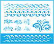 Set Of Wave Symbols And Splash For Design