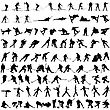 Set Of Winter Sport Silhouettes. Vector Illustration.