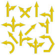 Set Of Yellow Arrows Isolated On White Background