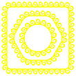 Set Of Yellow Frames Isolated On White Background