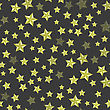Set Of Yellow Stars On Dark Background. Seamless Starry Pattern