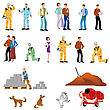 Several People Representatives Woman, Workman, Couple, Man, Dog And Building Site stock illustration