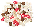 Several White, Red And Brown Pills On A White Background, Isolated stock image