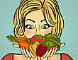 Sexy Blonde Woman With Many Vegetables In His Hands. Vector Illustration