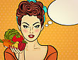 Sexy Pop Art Woman With Vegetables In His Hand. Pin Up Girl. Vector Illustration