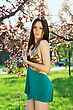 Sexy Young Lady Wearing Frank Dress Posing In The Garden