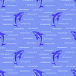 Shark Isolated On Blue Background. Fish Seamless Pattern stock illustration