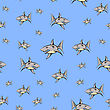 Shark Isolated On Blue Background. Fish Seamless Pattern