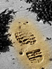 Shoe Imprint In Sand stock photo