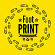 Shoe Print Vector Illustration On Yellow Background stock vector