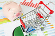 Shopping Cart And Piggy Bank With Printed Out Business Charts stock image