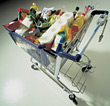 Shopping Cart With Groceries stock photography