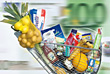 Shopping Cart with Groceries stock image