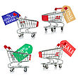 Shopping Carts With Tags Of Discount And Sale stock photography