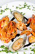 Appetizer Shrimps Mussels And Squid Tasty Seafood Dish stock image