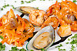 Shrimps Mussels And Squid Tasty Seafood Dish stock image
