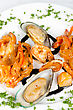 King Shrimps Mussels And Squid Tasty Seafood Dish stock photography