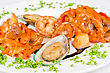 Shrimps Mussels And Squid Tasty Seafood Dish stock photography