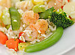 Shrimps With Rice ,vegetables, Pineapple And Sweet And Sour Sauce stock photo