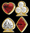 Side View Of Diamond Shaped Card Suits With Golden Framing Over Black Background. Other Gems Are In My Portfolio.