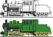 Side View Of A Old Train Painted In A Sketch. Under A Black Variant White Backing For Easy Isolation